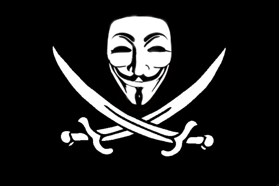 Hacktivist group Anonymous symbol, a Guy Fawkes mask and pirate swords