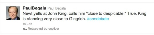 1/19/12 CNN debate/ Begala tweet re: Gingrich