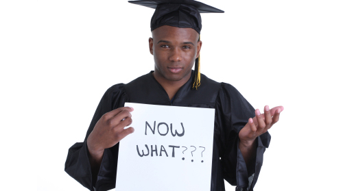 "College graduate holding ""Now What"" sign"