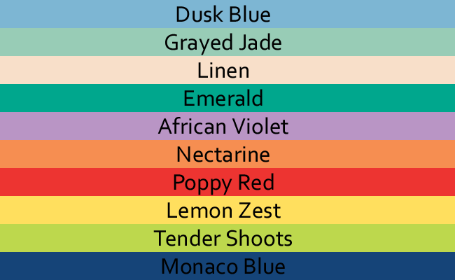 The ten colors of the Pantone Color Institute's Spring 2013 color predictions.
