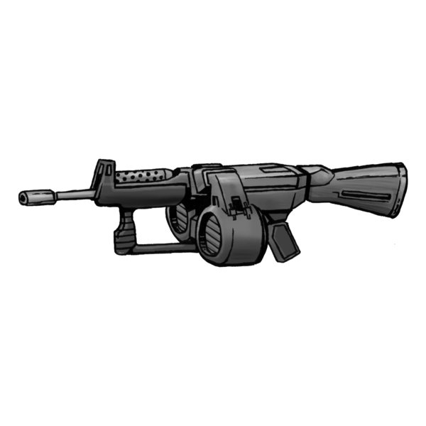 A drawing of an assault rifle.